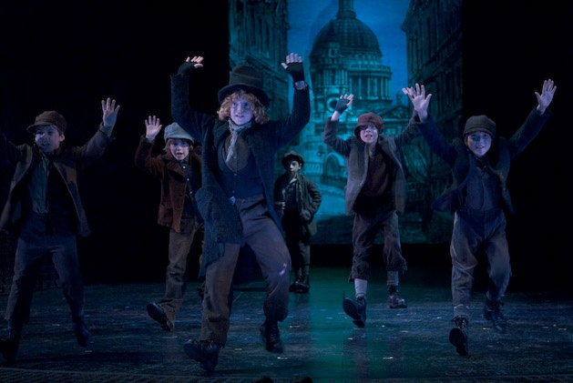 Morgan Roff as Artful Dodger and Boys Choir in the 2007/08 season production of OLIVER! photo by David Cooper.